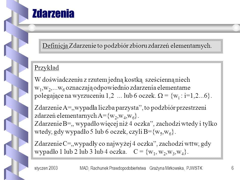 styczen 2003MAD, Rachunek Prawdopodobieństwa Grażyna Mirkowska, PJWSTK6 Zdarzenia Definicja Zdarzenie to podzbiór zbioru zdarzeń elementarnych.