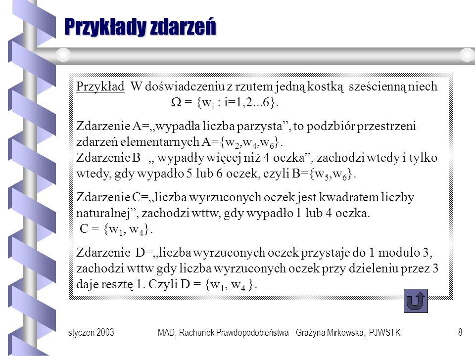 styczen 2003MAD, Rachunek Prawdopodobieństwa Grażyna Mirkowska, PJWSTK8 Przykłady zdarzeń Przykład W doświadczeniu z rzutem jedną kostką sześcienną niech = {w i : i=1,2...6}.