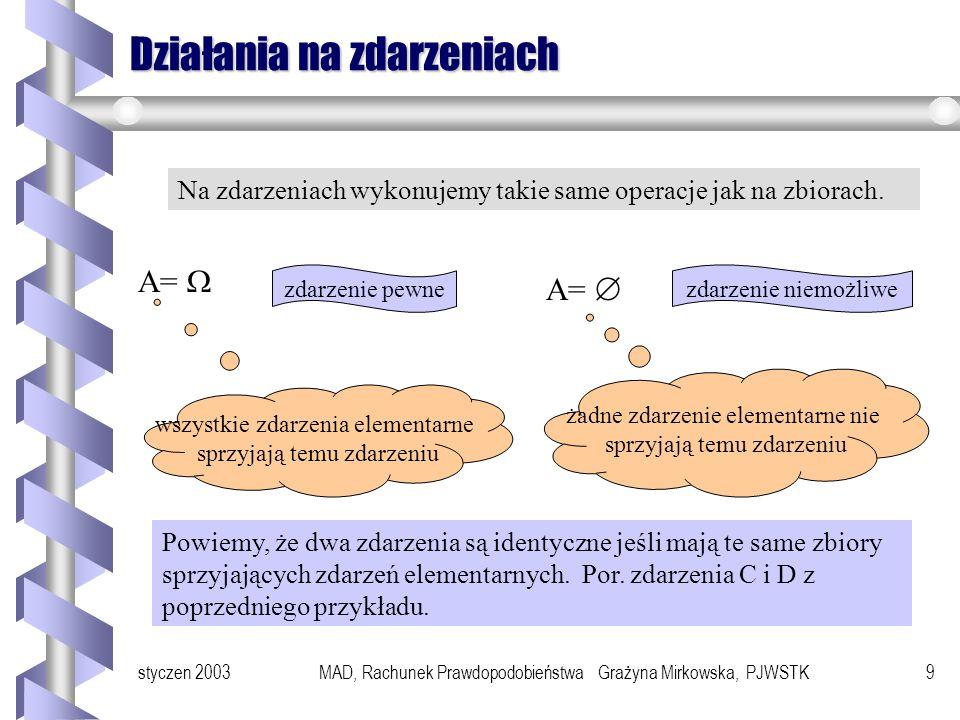 styczen 2003MAD, Rachunek Prawdopodobieństwa Grażyna Mirkowska, PJWSTK19 Przykłady Przykład Rzucamy dwiema różnokolorowymi kostkami do gry i rozważamy dwa zdarzenia A = suma oczek wyrzuconych wyniesie 8 B = obie liczby oczek są nieparzyste Jakie jest prawdopodobieństwo zdarzenia A B.