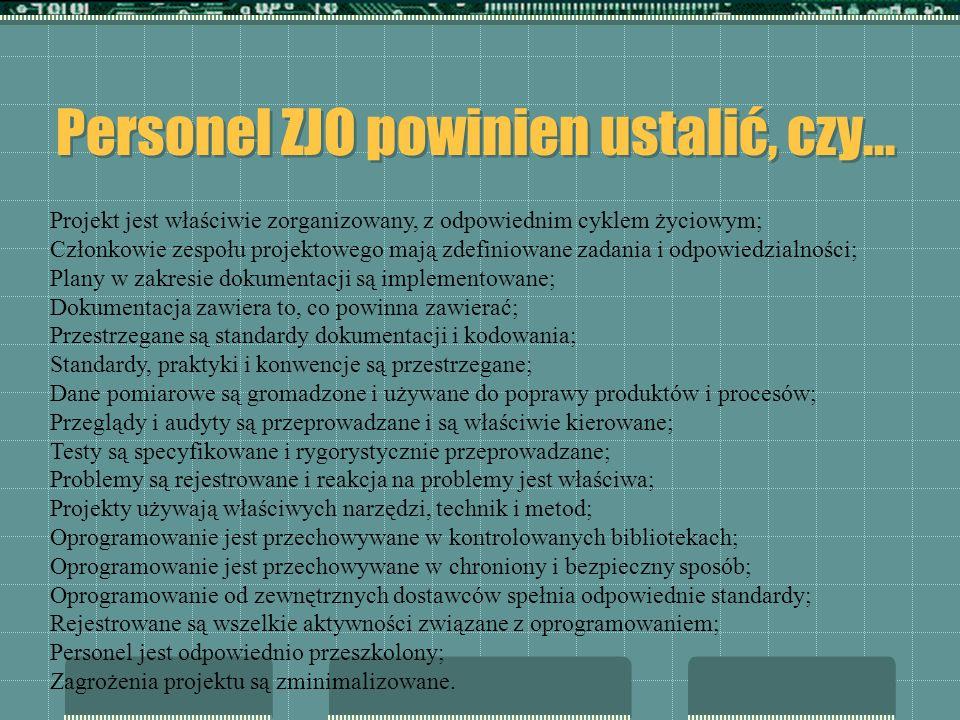 Personel ZJO powinien ustalić, czy... Projekt jest właściwie zorganizowany, z odpowiednim cyklem życiowym; Członkowie zespołu projektowego mają zdefin