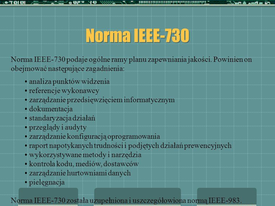 Norma IEEE-730 Norma IEEE-730 podaje ogólne ramy planu zapewniania jakości. Powinien on obejmować następujące zagadnienia: analiza punktów widzenia re