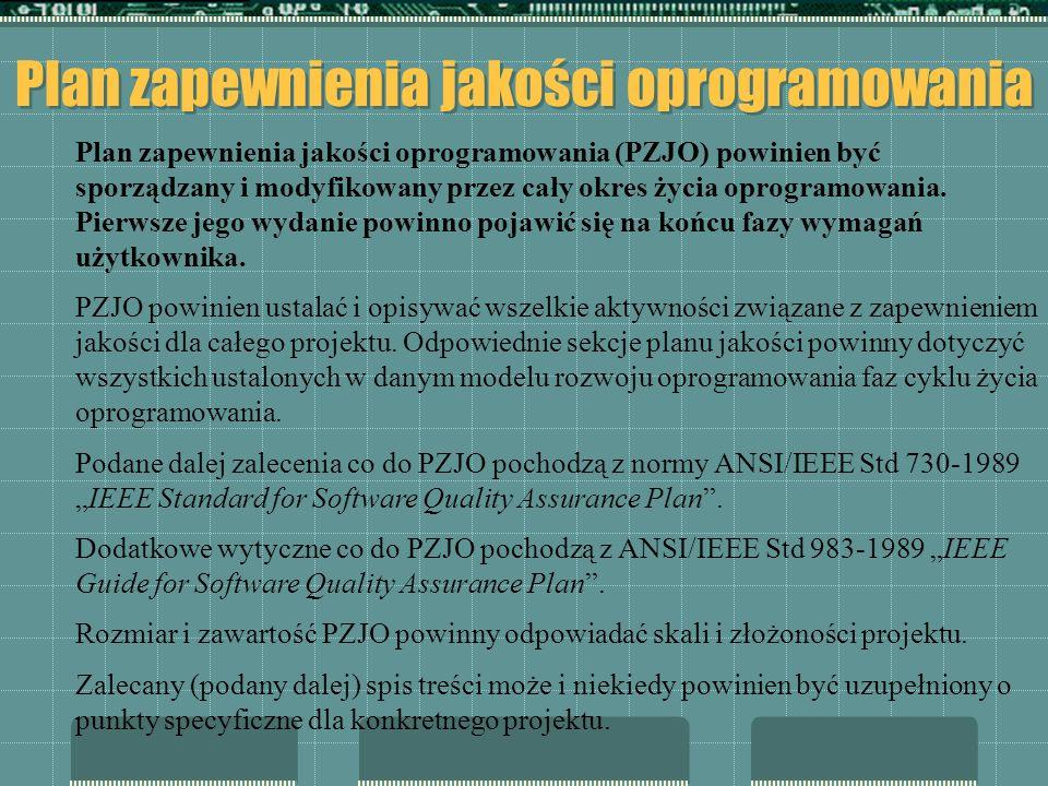 Plan zapewnienia jakości oprogramowania Plan zapewnienia jakości oprogramowania ( PZJO) powinien być sporządzany i modyfikowany przez cały okres życia