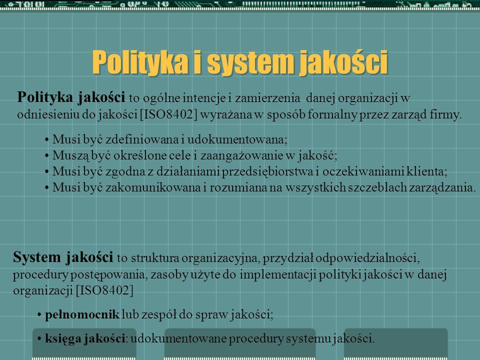 Polityka i system jakości Musi być zdefiniowana i udokumentowana; Muszą być określone cele i zaangażowanie w jakość; Musi być zgodna z działaniami prz