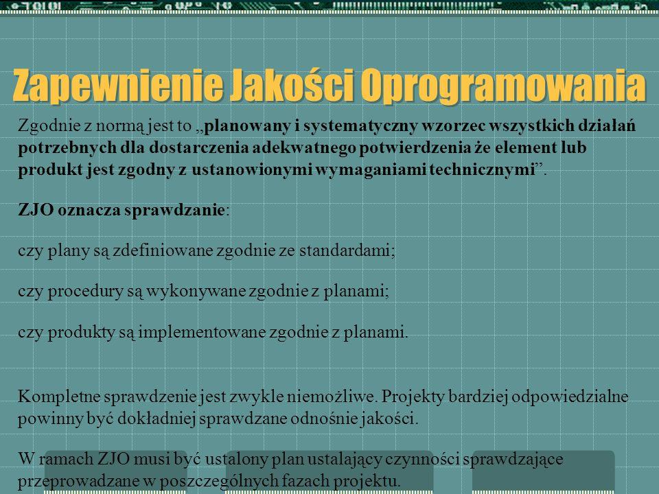 Zapewnienie Jakości Oprogramowania Zgodnie z normą jest to planowany i systematyczny wzorzec wszystkich działań potrzebnych dla dostarczenia adekwatne