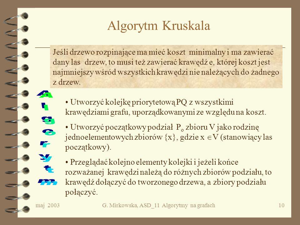maj 2003G. Mirkowska, ASD_11 Algorytmy na grafach9 Lemat Niech G = będzie grafem spójnym, skończonym i niech c będzie jego funkcją kosztu. Niech d 1 =