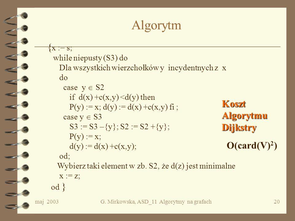 maj 2003G. Mirkowska, ASD_11 Algorytmy na grafach19 Cd. przykładu A B C D E F G H I J d P 0295 AAA 6 BGG 107 S1A F G B C IH S2 D 8 C AB C DE F G HI 2