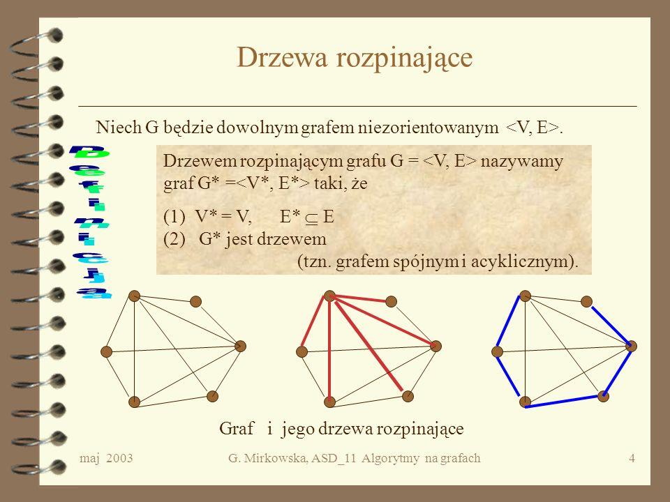 maj 2003G. Mirkowska, ASD_11 Algorytmy na grafach3 Na czym to polega? W każdym kroku, w którym trzeba dokonać wyboru, wybierać zawsze rozwiązanie loka