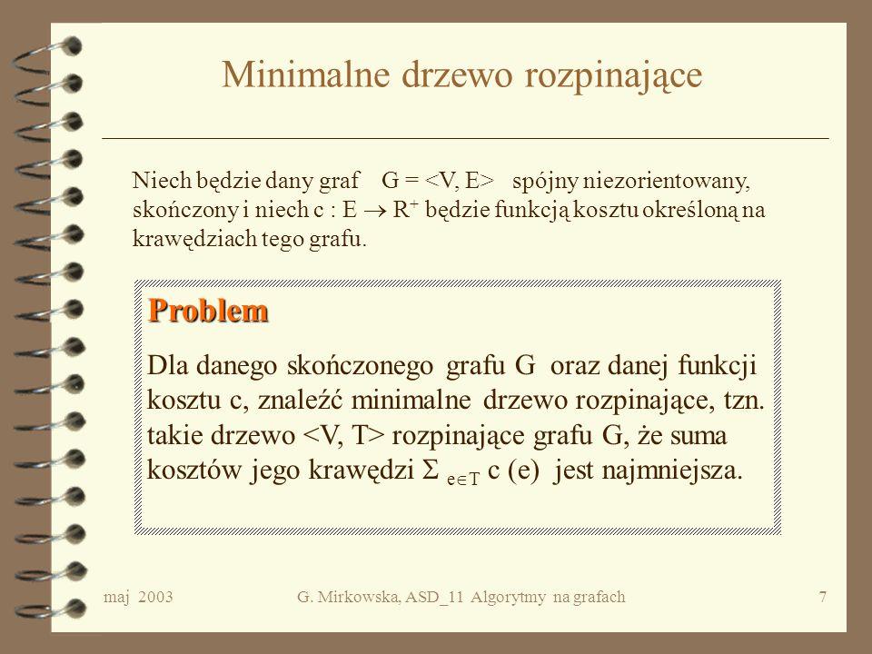 maj 2003G. Mirkowska, ASD_11 Algorytmy na grafach6 Jak znaleźć drzewo rozpinające grafu(2)? DFS DFS Włóż na stos wybrany wierzchołek grafu i zamarkuj