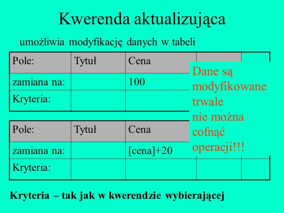 Kwerenda aktualizująca umożliwia modyfikację danych w tabeli Pole:TytułCena zamiana na:100 Kryteria: Pole:TytułCena zamiana na:[cena]+20 Kryteria: Dan