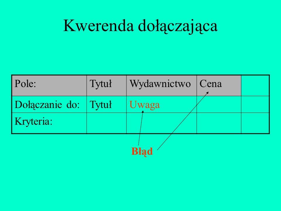 Kwerenda dołączająca Pole:TytułWydawnictwoCena Dołączanie do:TytułUwaga Kryteria: Błąd