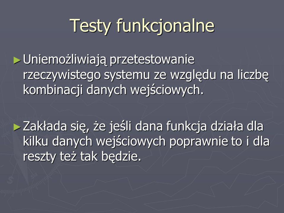 Testy funkcjonalne Uniemożliwiają przetestowanie rzeczywistego systemu ze względu na liczbę kombinacji danych wejściowych. Uniemożliwiają przetestowan