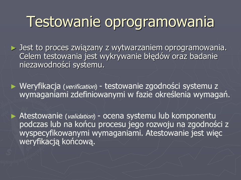 Fazy testowania Bezpieczeństwo oprogramowania Bezpieczeństwo oprogramowania Kompletność i jakość założonych funkcji systemu Nie przekraczanie ograniczeń Modyfikowalność oprogramowania Obciążalność oprogramowania Skalowność systemu Akceptowalność systemu Jakość dokumentacji