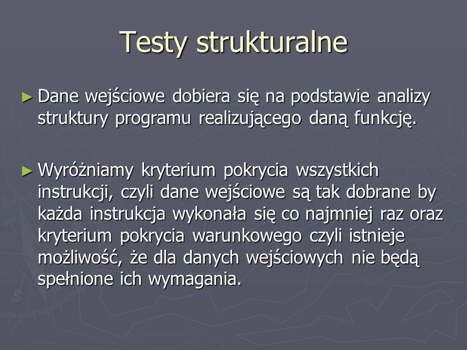 Testy strukturalne Dane wejściowe dobiera się na podstawie analizy struktury programu realizującego daną funkcję. Dane wejściowe dobiera się na podsta