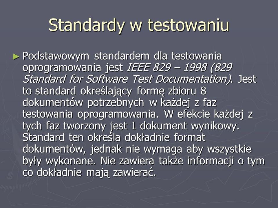 Standardy w testowaniu Podstawowym standardem dla testowania oprogramowania jest IEEE 829 – 1998 (829 Standard for Software Test Documentation).