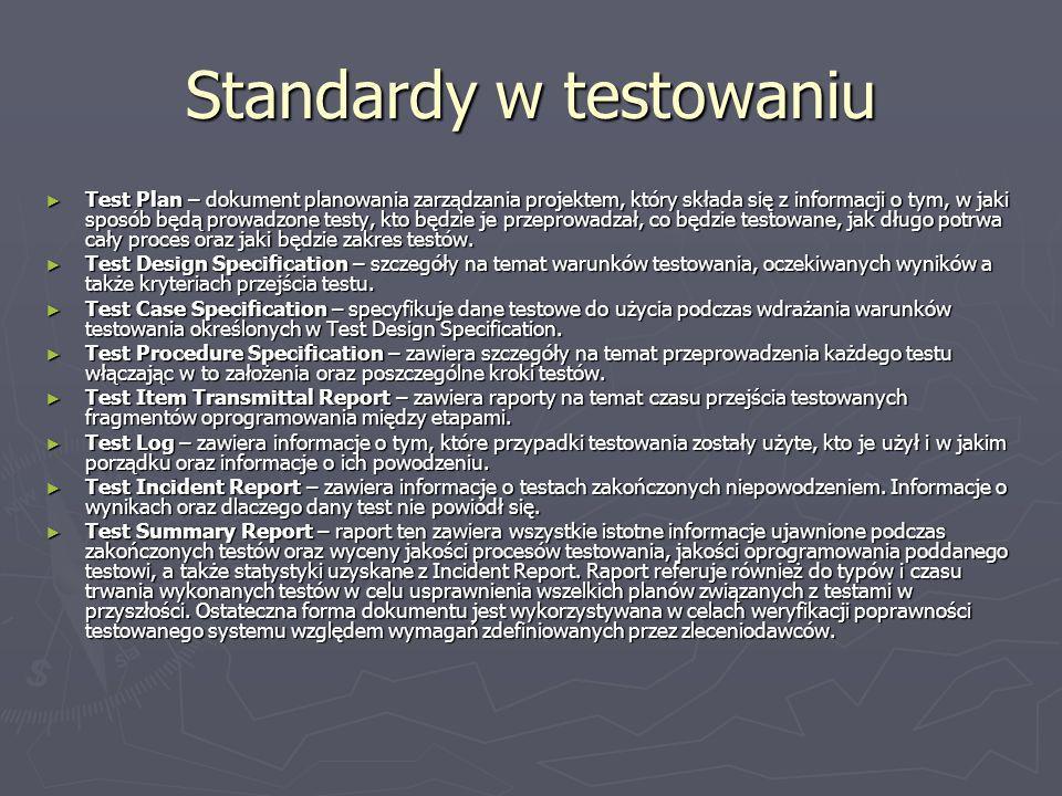 Standardy w testowaniu Test Plan – dokument planowania zarządzania projektem, który składa się z informacji o tym, w jaki sposób będą prowadzone testy, kto będzie je przeprowadzał, co będzie testowane, jak długo potrwa cały proces oraz jaki będzie zakres testów.