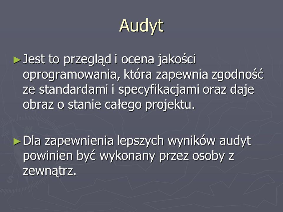 Audyt Jest to przegląd i ocena jakości oprogramowania, która zapewnia zgodność ze standardami i specyfikacjami oraz daje obraz o stanie całego projekt