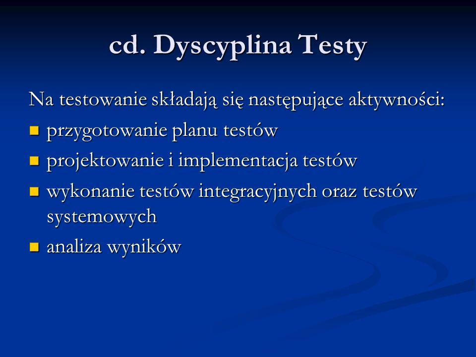 cd. Dyscyplina Testy Na testowanie składają się następujące aktywności: przygotowanie planu testów przygotowanie planu testów projektowanie i implemen