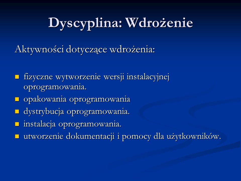 Dyscyplina: Wdrożenie Aktywności dotyczące wdrożenia: fizyczne wytworzenie wersji instalacyjnej oprogramowania. fizyczne wytworzenie wersji instalacyj