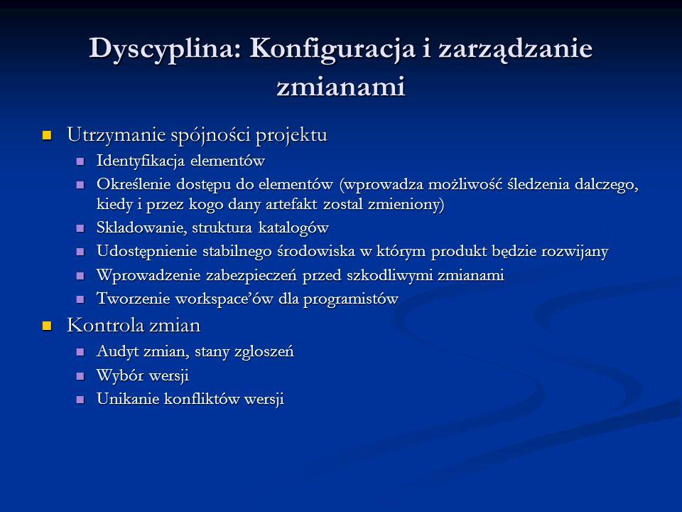 Dyscyplina: Konfiguracja i zarządzanie zmianami Utrzymanie spójności projektu Utrzymanie spójności projektu Identyfikacja elementów Identyfikacja elem