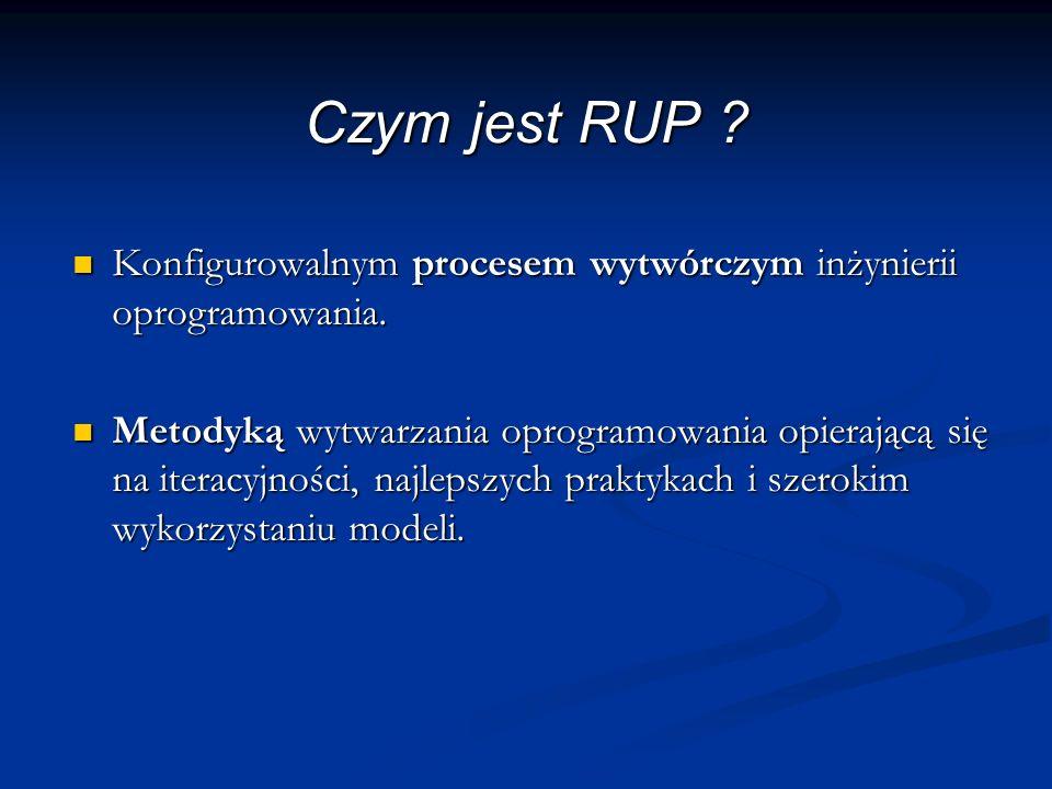 Czym jest RUP . Konfigurowalnym procesem wytwórczym inżynierii oprogramowania.