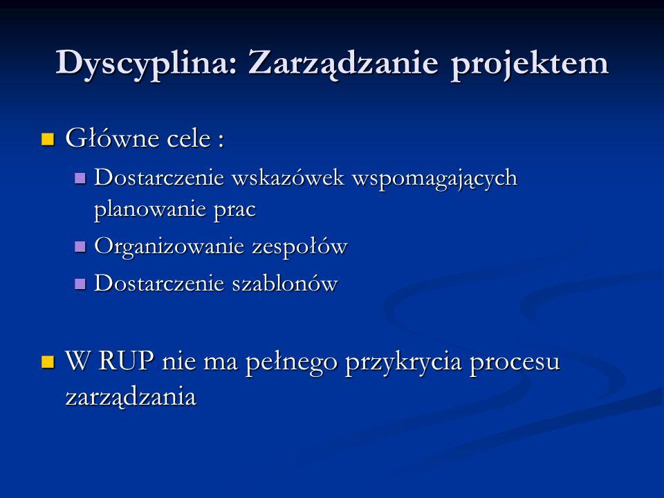 Dyscyplina: Zarządzanie projektem Główne cele : Główne cele : Dostarczenie wskazówek wspomagających planowanie prac Dostarczenie wskazówek wspomagając