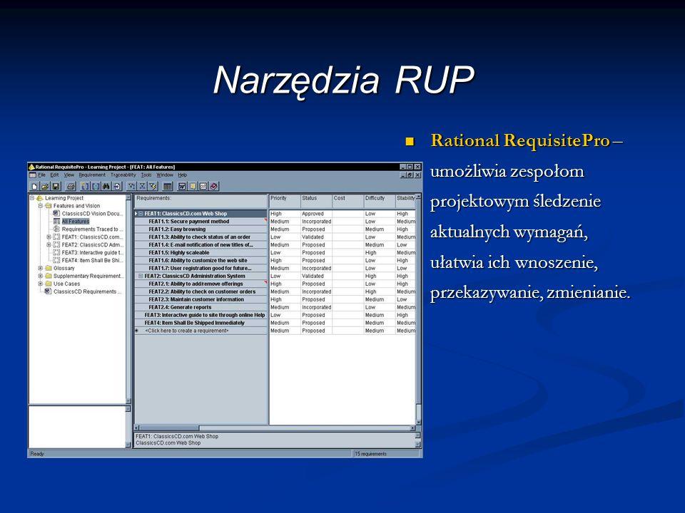Narzędzia RUP Rational RequisitePro – umożliwia zespołom projektowym śledzenie aktualnych wymagań, ułatwia ich wnoszenie, przekazywanie, zmienianie. R