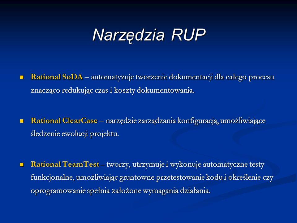 Narzędzia RUP Rational SoDA – automatyzuje tworzenie dokumentacji dla całego procesu znacząco redukując czas i koszty dokumentowania. Rational SoDA –