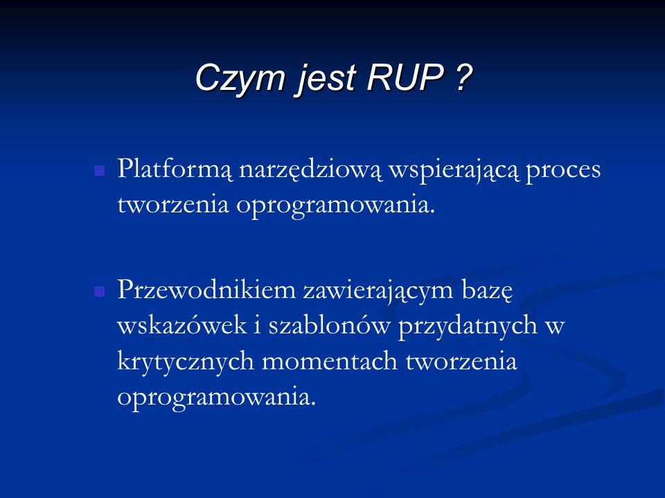 Narzędzia RUP Rational SoDA – automatyzuje tworzenie dokumentacji dla całego procesu znacząco redukując czas i koszty dokumentowania.