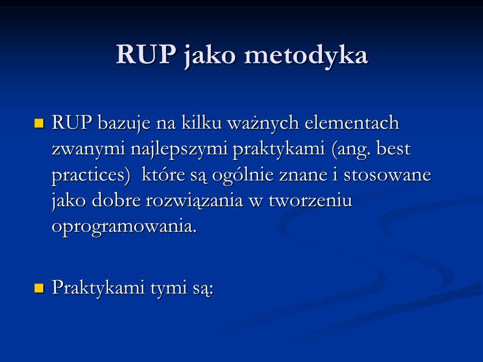RUP jako metodyka RUP bazuje na kilku ważnych elementach zwanymi najlepszymi praktykami (ang. best practices) które są ogólnie znane i stosowane jako