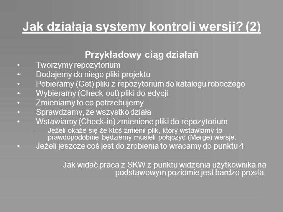 Jak działają systemy kontroli wersji? (2) Przykładowy ciąg działań Tworzymy repozytorium Dodajemy do niego pliki projektu Pobieramy (Get) pliki z repo