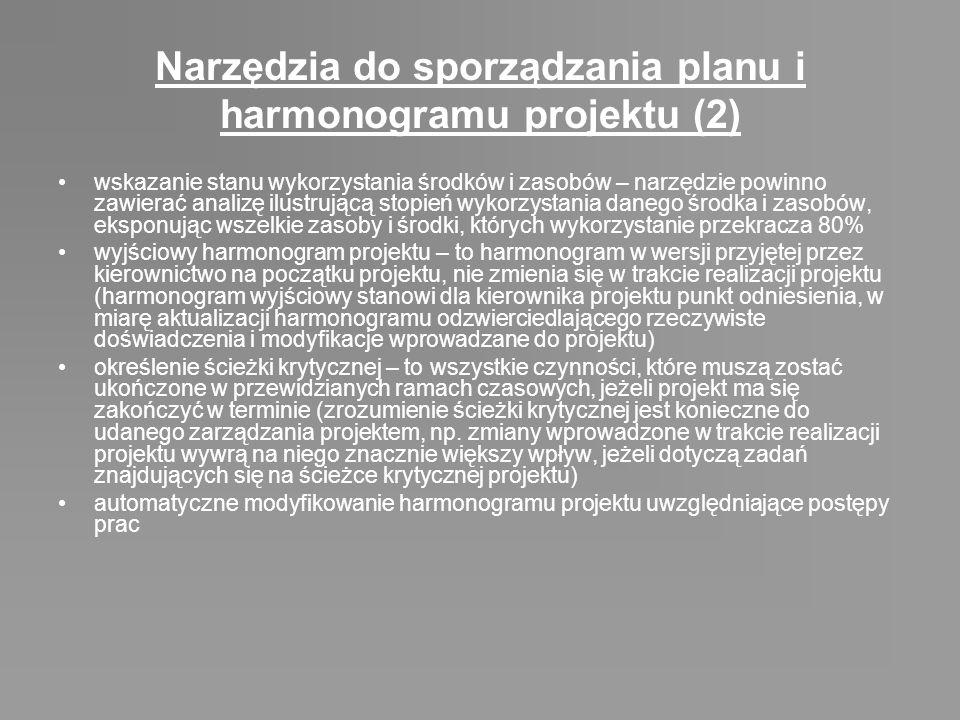 Narzędzia do sporządzania planu i harmonogramu projektu (2) wskazanie stanu wykorzystania środków i zasobów – narzędzie powinno zawierać analizę ilust