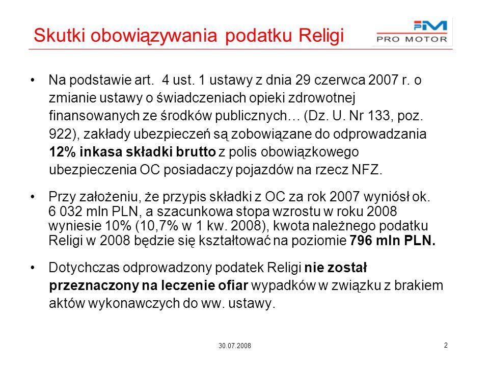 30.07.2008 2 Skutki obowiązywania podatku Religi Na podstawie art. 4 ust. 1 ustawy z dnia 29 czerwca 2007 r. o zmianie ustawy o świadczeniach opieki z