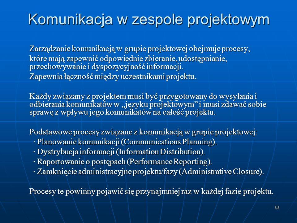 11 Komunikacja w zespole projektowym Zarządzanie komunikacją w grupie projektowej obejmuje procesy, które mają zapewnić odpowiednie zbieranie, udostęp