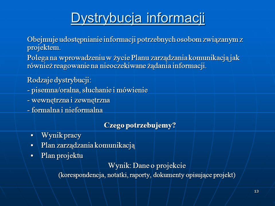13 Dystrybucja informacji Obejmuje udostępnianie informacji potrzebnych osobom związanym z projektem. Polega na wprowadzeniu w życie Planu zarządzania