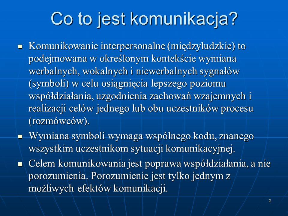 2 Co to jest komunikacja? Komunikowanie interpersonalne (międzyludzkie) to podejmowana w określonym kontekście wymiana werbalnych, wokalnych i niewerb
