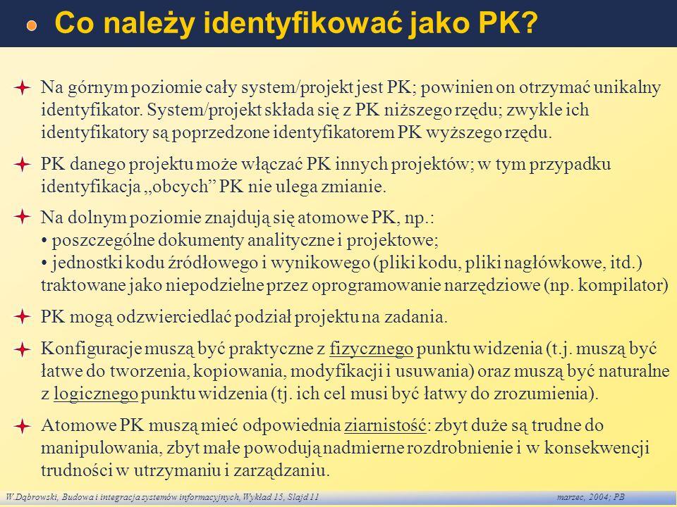 W.Dąbrowski, Budowa i integracja systemów informacyjnych, Wykład 15, Slajd 11marzec, 2004; PB Co należy identyfikować jako PK? Na górnym poziomie cały