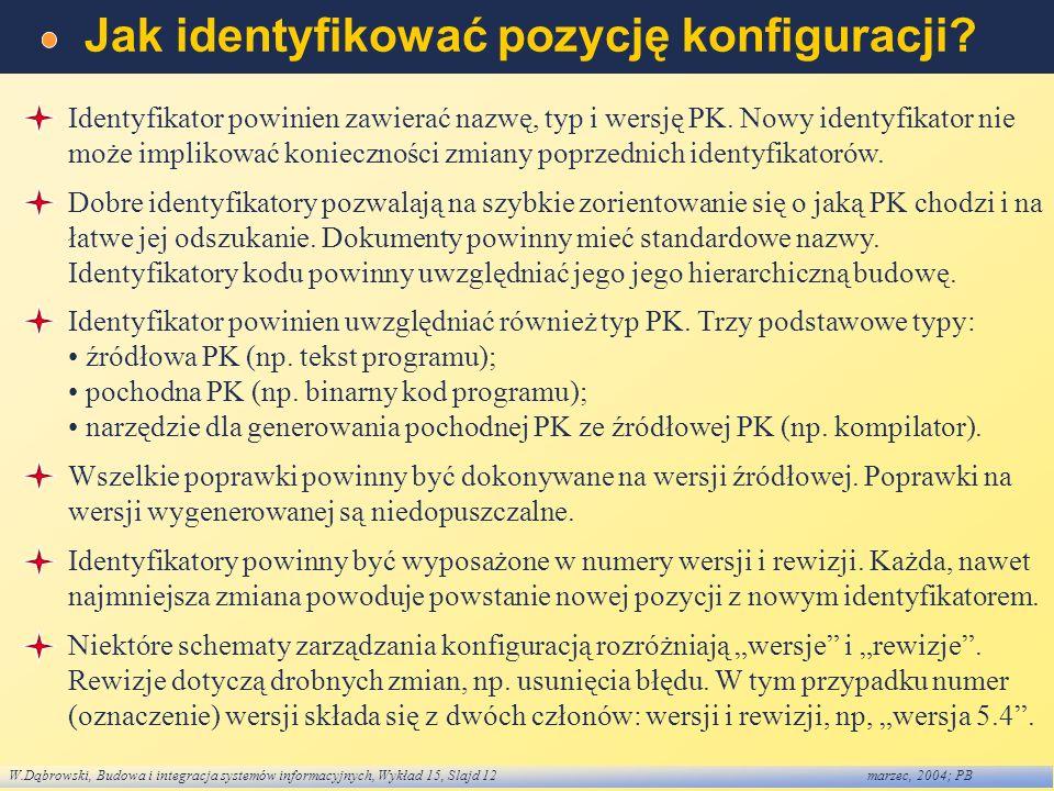 W.Dąbrowski, Budowa i integracja systemów informacyjnych, Wykład 15, Slajd 12marzec, 2004; PB Jak identyfikować pozycję konfiguracji? Identyfikator po