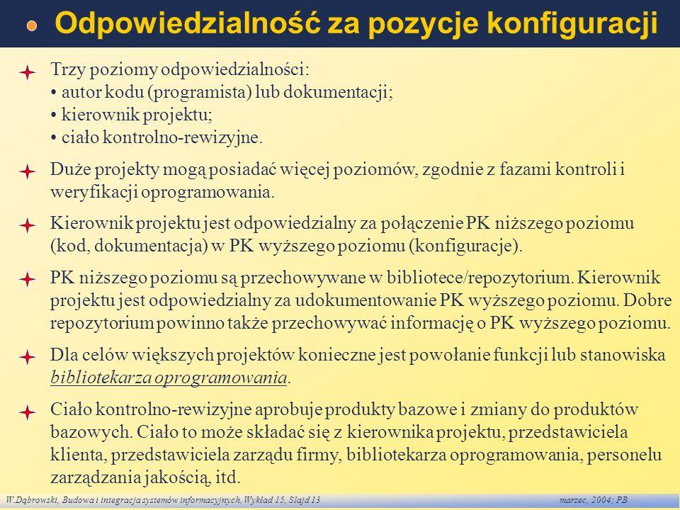 W.Dąbrowski, Budowa i integracja systemów informacyjnych, Wykład 15, Slajd 13marzec, 2004; PB Odpowiedzialność za pozycje konfiguracji Trzy poziomy od