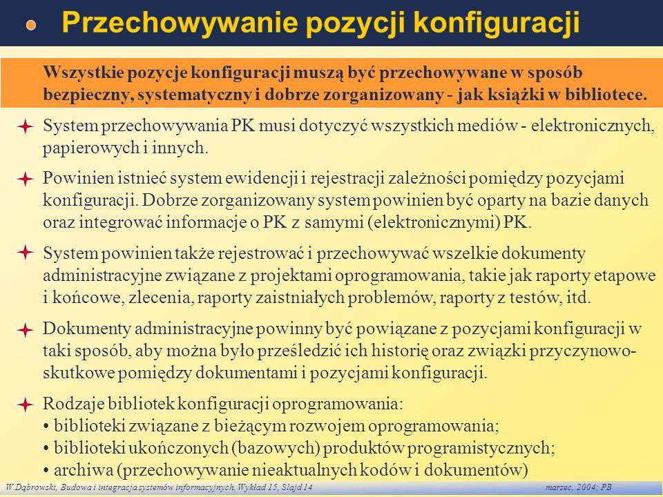 W.Dąbrowski, Budowa i integracja systemów informacyjnych, Wykład 15, Slajd 14marzec, 2004; PB Przechowywanie pozycji konfiguracji Wszystkie pozycje ko