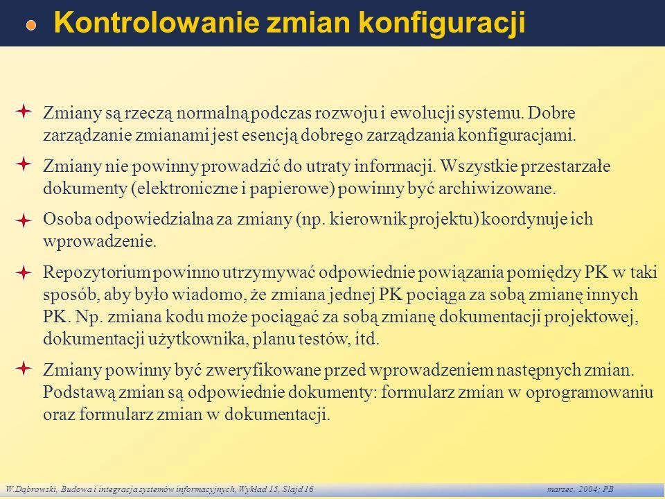 W.Dąbrowski, Budowa i integracja systemów informacyjnych, Wykład 15, Slajd 16marzec, 2004; PB Kontrolowanie zmian konfiguracji Zmiany są rzeczą normal
