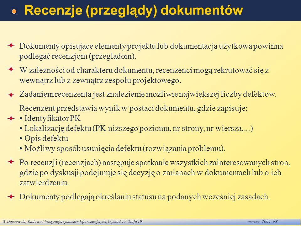 W.Dąbrowski, Budowa i integracja systemów informacyjnych, Wykład 15, Slajd 19marzec, 2004; PB Recenzje (przeglądy) dokumentów Dokumenty opisujące elem