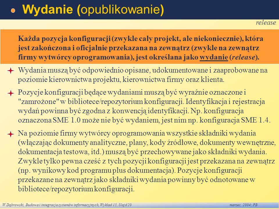 W.Dąbrowski, Budowa i integracja systemów informacyjnych, Wykład 15, Slajd 20marzec, 2004; PB Wydanie (opublikowanie) release Każda pozycja konfigurac