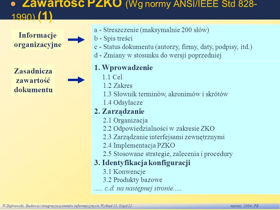 W.Dąbrowski, Budowa i integracja systemów informacyjnych, Wykład 15, Slajd 22marzec, 2004; PB Zawartość PZKO (Wg normy ANSI/IEEE Std 828- 1990) (1) a