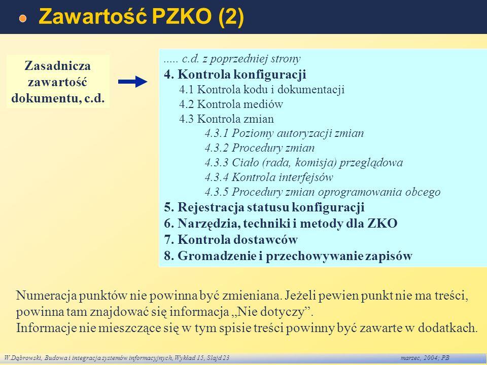W.Dąbrowski, Budowa i integracja systemów informacyjnych, Wykład 15, Slajd 23marzec, 2004; PB Zawartość PZKO (2)..... c.d. z poprzedniej strony 4. Kon