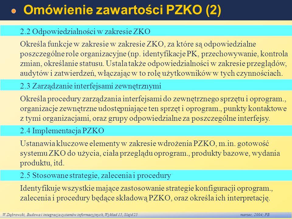 W.Dąbrowski, Budowa i integracja systemów informacyjnych, Wykład 15, Slajd 25marzec, 2004; PB Omówienie zawartości PZKO (2) 2.2 Odpowiedzialności w za