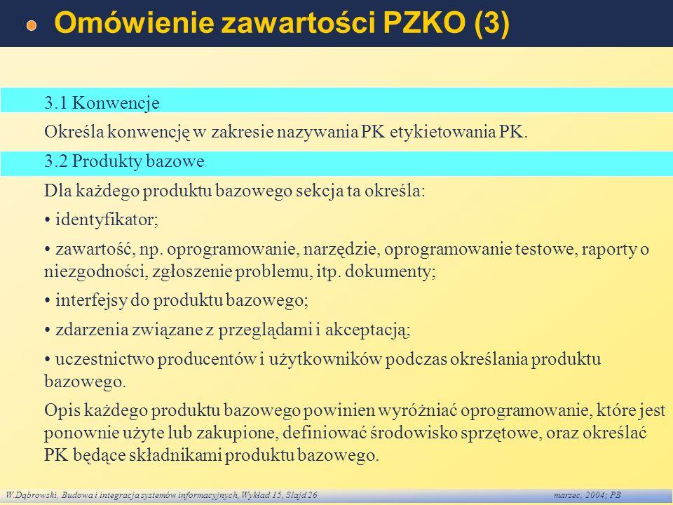 W.Dąbrowski, Budowa i integracja systemów informacyjnych, Wykład 15, Slajd 26marzec, 2004; PB Omówienie zawartości PZKO (3) 3.1 Konwencje Określa konw