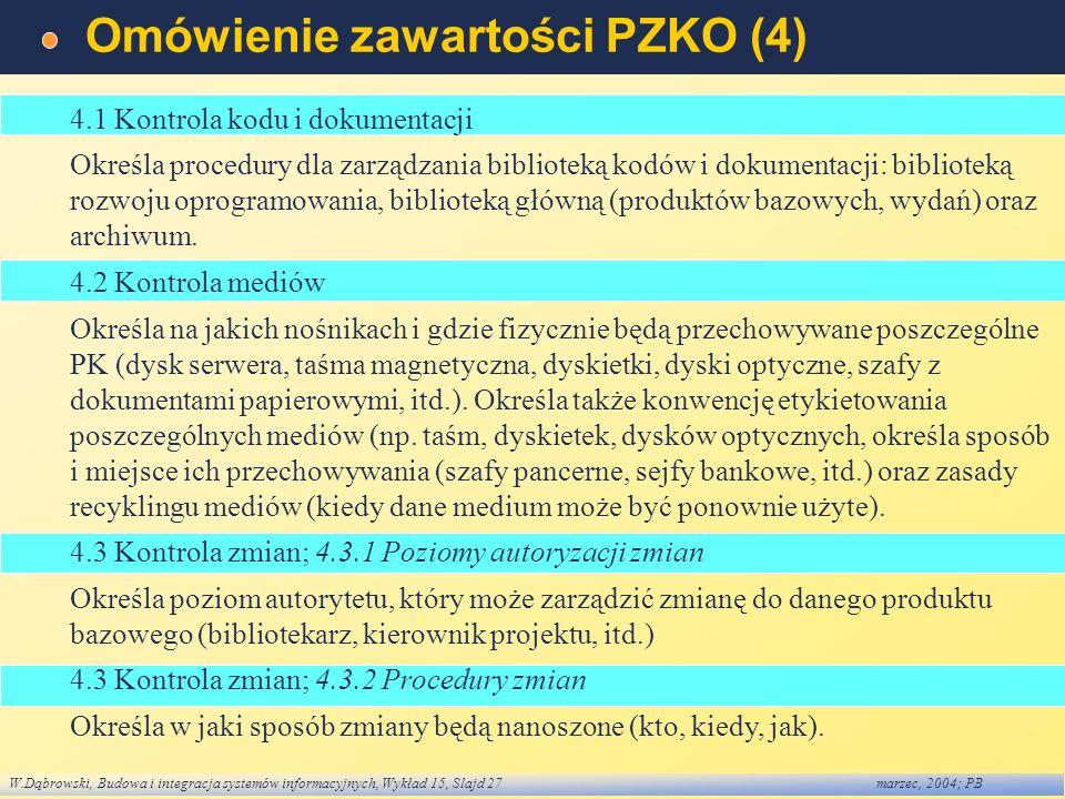 W.Dąbrowski, Budowa i integracja systemów informacyjnych, Wykład 15, Slajd 27marzec, 2004; PB Omówienie zawartości PZKO (4) 4.1 Kontrola kodu i dokume