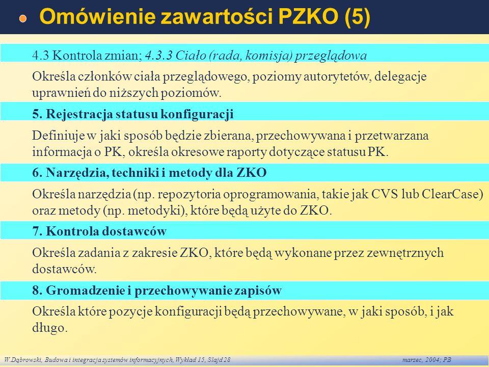 W.Dąbrowski, Budowa i integracja systemów informacyjnych, Wykład 15, Slajd 28marzec, 2004; PB Omówienie zawartości PZKO (5) 4.3 Kontrola zmian; 4.3.3