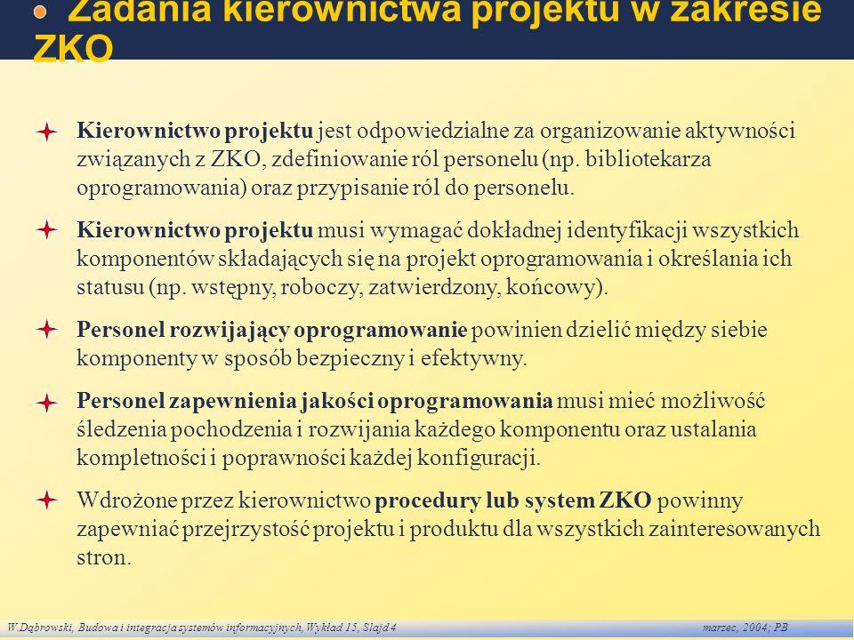 W.Dąbrowski, Budowa i integracja systemów informacyjnych, Wykład 15, Slajd 4marzec, 2004; PB Zadania kierownictwa projektu w zakresie ZKO Kierownictwo