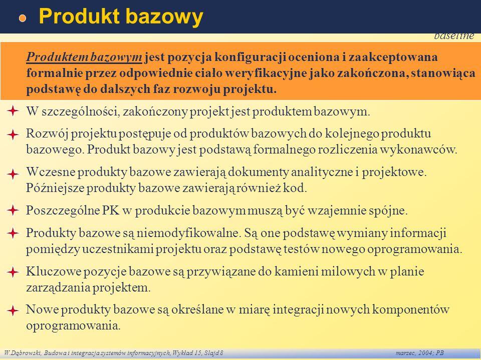 W.Dąbrowski, Budowa i integracja systemów informacyjnych, Wykład 15, Slajd 8marzec, 2004; PB Produkt bazowy baseline Produktem bazowym jest pozycja ko